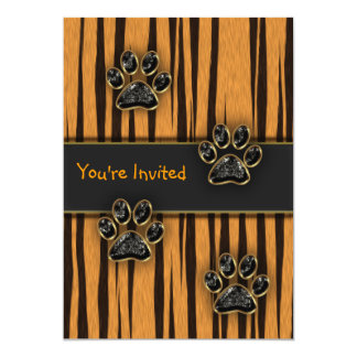 Tiger Paw Child Birthday Party Card