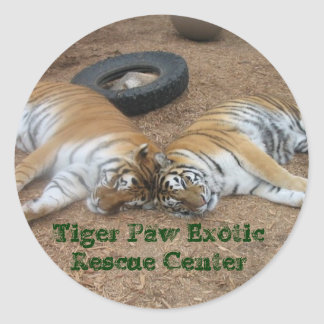 Tiger Paw Exotic Rescue Center Classic Round Sticker