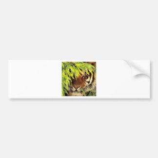 Tiger Peers Behind A Leaf Bumper Sticker