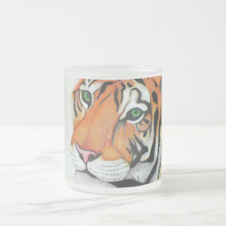 Tiger (Pencil by Kimberly Turnbull Art) Frosted Glass Coffee Mug