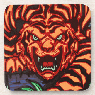 Tiger plastic coasters - set of 6