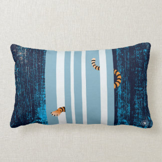 Tiger Playing in Waterfall Lumbar Pillow