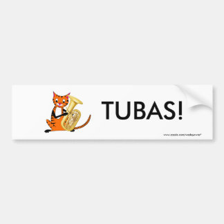Tiger Playing the Tuba Bumper Sticker