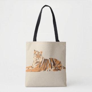 Tiger polygon art illustration tote bag
