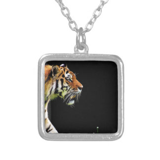 Tiger Predator Fur Beautiful Dangerous Cat Silver Plated Necklace