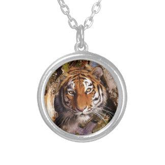 Tiger Predator Lurking Fur Beautiful Dangerous Silver Plated Necklace