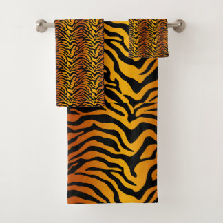 Tiger print bath towel set