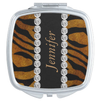 Tiger Print Black Diamond Mirror For Makeup