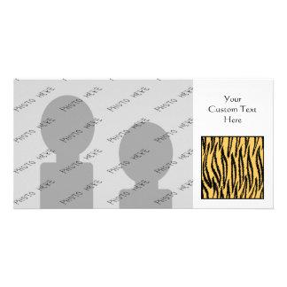 Tiger Print. Orange and Black Pattern. Personalized Photo Card
