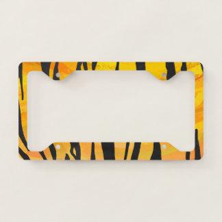 Tiger Print with Orange License Plate Frame