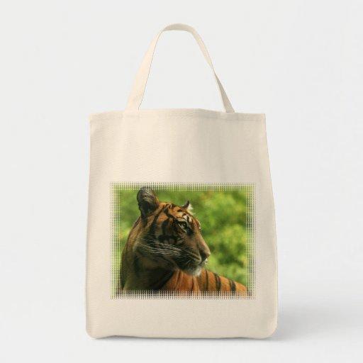 Tiger Profile Grocery Tote Bag