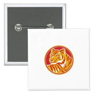 Tiger Prowling Head Circle Retro 2 Inch Square Button