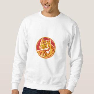 Tiger Prowling Head Circle Retro Sweatshirt