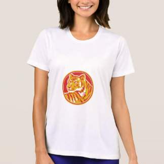 Tiger Prowling Head Circle Retro T-Shirt