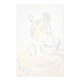 Tiger relaxing art stationery design