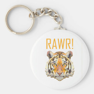 Tiger Roar Rawr Animal Cat Fun Basic Round Button Keychain