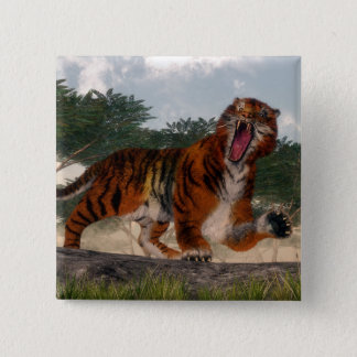 Tiger roaring - 3D render 2 Inch Square Button