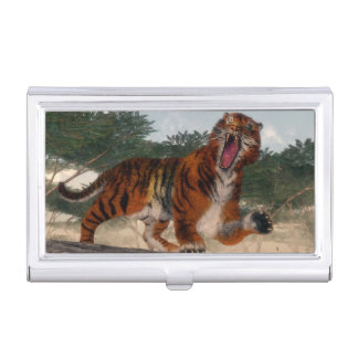 Tiger roaring - 3D render Business Card Holder