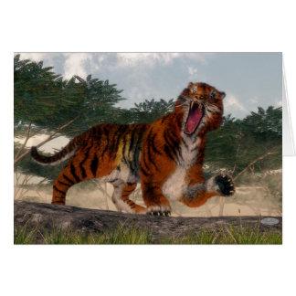 Tiger roaring - 3D render Card
