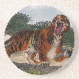 Tiger roaring - 3D render Coaster