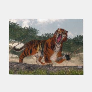 Tiger roaring - 3D render Doormat