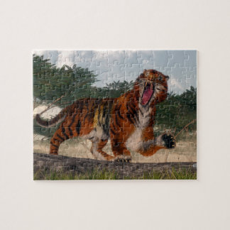 Tiger roaring - 3D render Jigsaw Puzzle