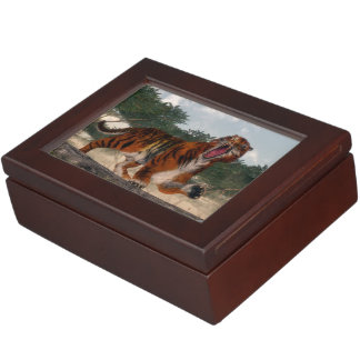 Tiger roaring - 3D render Keepsake Box