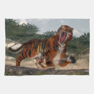 Tiger roaring - 3D render Kitchen Towel