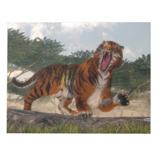 Tiger roaring - 3D render Notepad