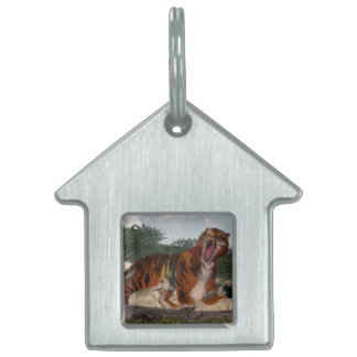 Tiger roaring - 3D render Pet Name Tag