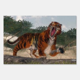 Tiger roaring - 3D render Sign