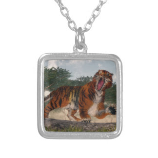 Tiger roaring - 3D render Silver Plated Necklace