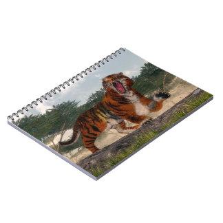 Tiger roaring - 3D render Spiral Note Book