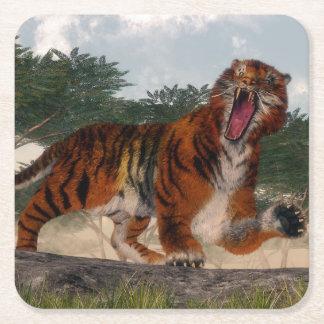 Tiger roaring - 3D render Square Paper Coaster