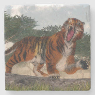 Tiger roaring - 3D render Stone Coaster