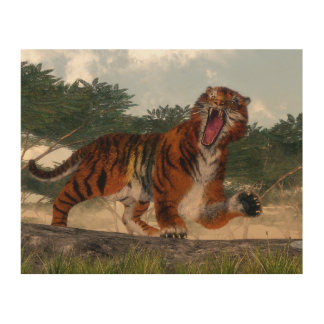 Tiger roaring - 3D render Wood Wall Art