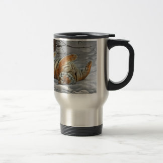 Tiger Roll in the Snow Travel Mug