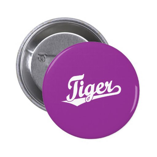 Tiger Script Logo in White Pinback Buttons