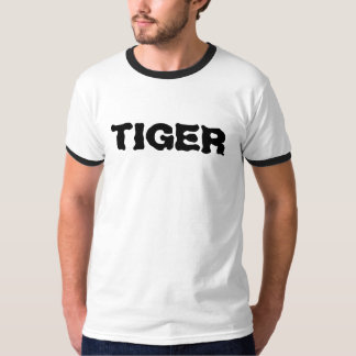 Tiger Shirt White with Black collar and sleeves T Shirts