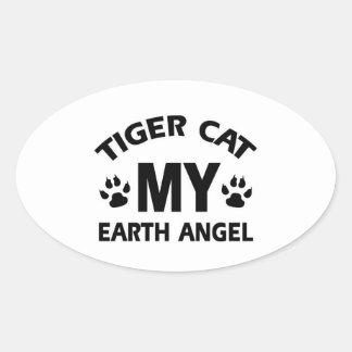 Tiger  siamese cat design oval sticker