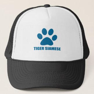 TIGER SIAMESE CAT DESIGNS TRUCKER HAT