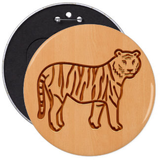 Tiger silhouette engraved on wood design 6 inch round button