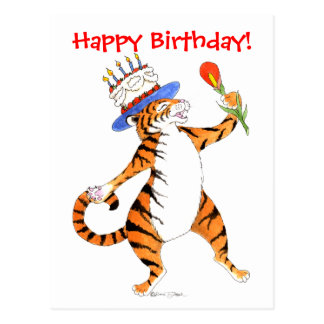 Tiger Sings Happy Birthday -Postcard Postcard