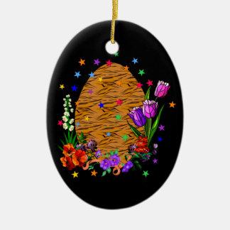 Tiger Skin Easter Egg Ceramic Oval Ornament