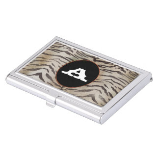 Tiger Skin in Ivory Business Card Holder