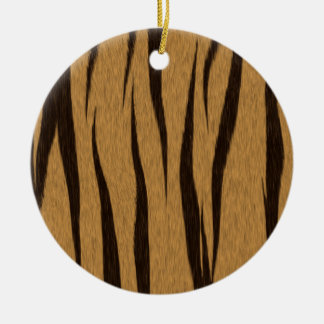 Tiger Skin Print Round Ceramic Ornament