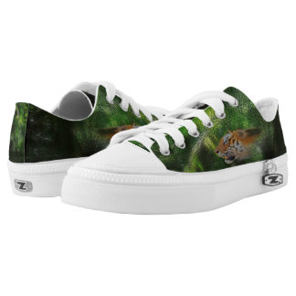 Tiger Spirit on Jungle Background Low-Top Sneakers