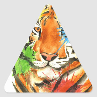 Tiger Splatter Triangle Sticker