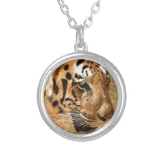 Tiger Stalking in India Silver Plated Necklace