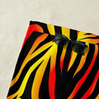 Tiger Stripes Animal Print Pattern Beach Towel